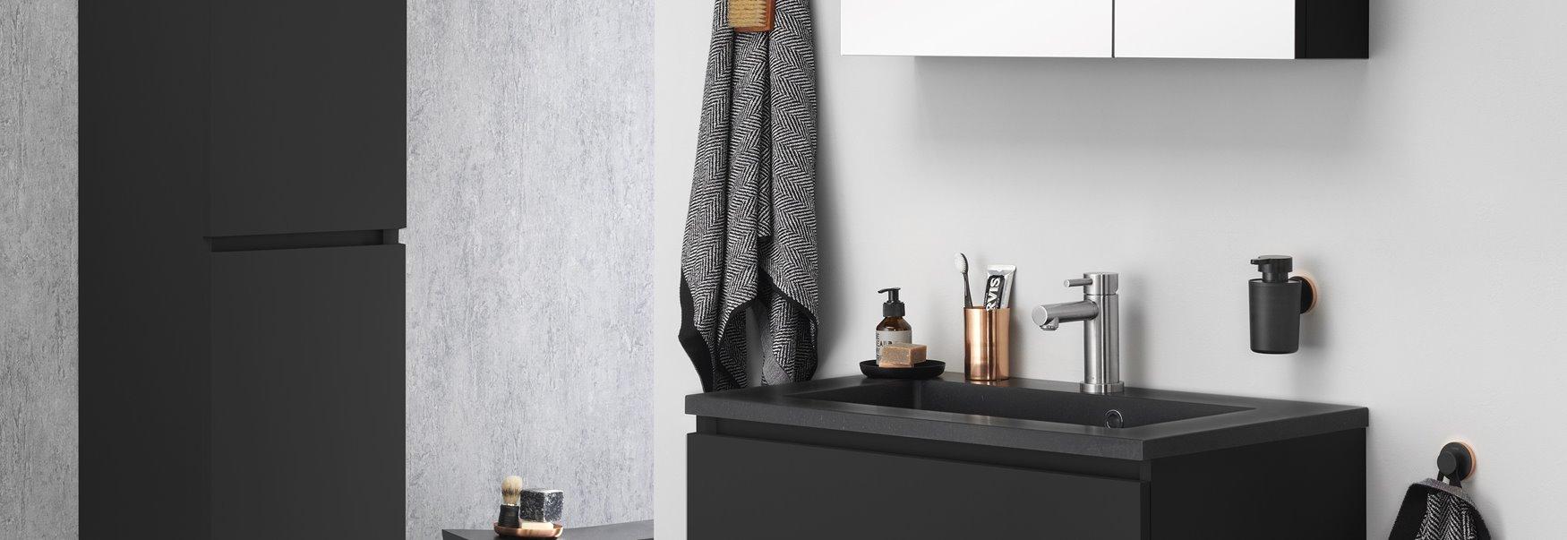 meuble de salle de bains loft noir mat